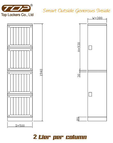 Double Tier Factory Lockers ABS Plastic Green Size Diagram