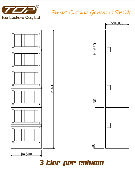 Triple Tier Storage Lockers ABS Plastic Orange Size Diagram
