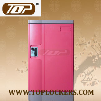Triple Tier Knocked-down Plastic Lockers, Pink Color
